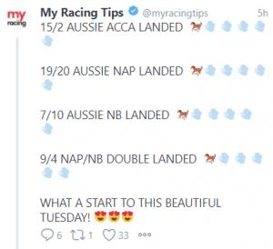 Australian Tips Winner tweet